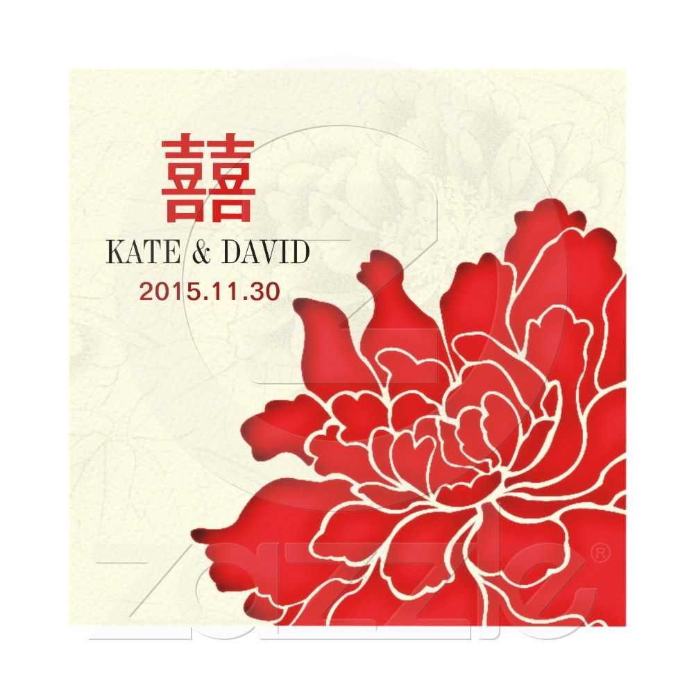 Red Peony Double Happiness Asian-Themed Wedding Card | Red peonies ...