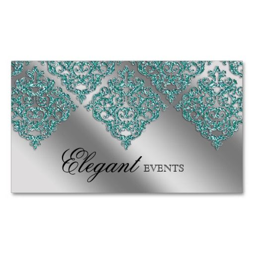 This Is Great For Wedding Event Planner Damask Sparkle Silver Teal - Wedding business card template