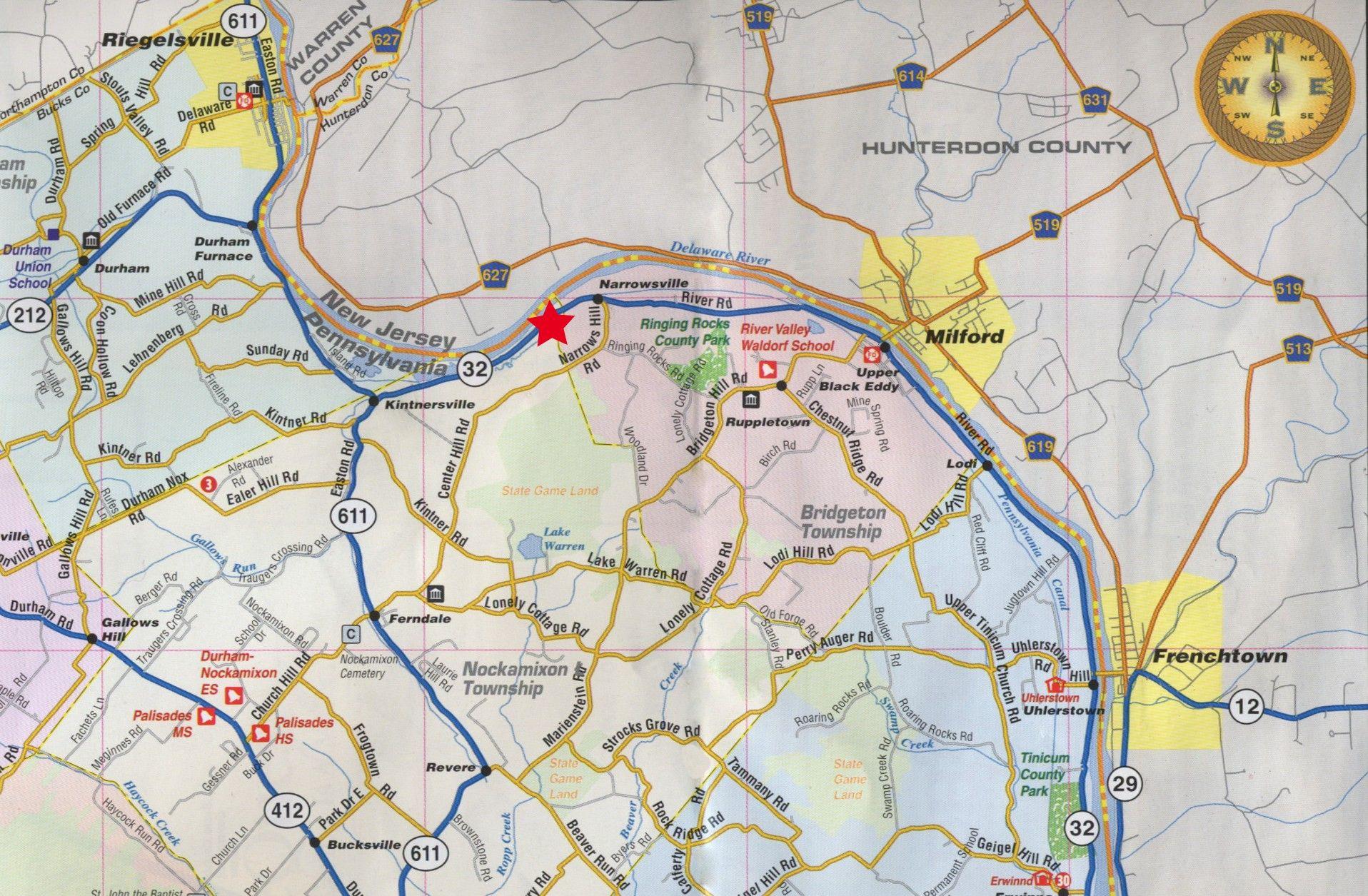 Bucks County Pa Road Map Upper Bucks County Pennsylvania Tourist