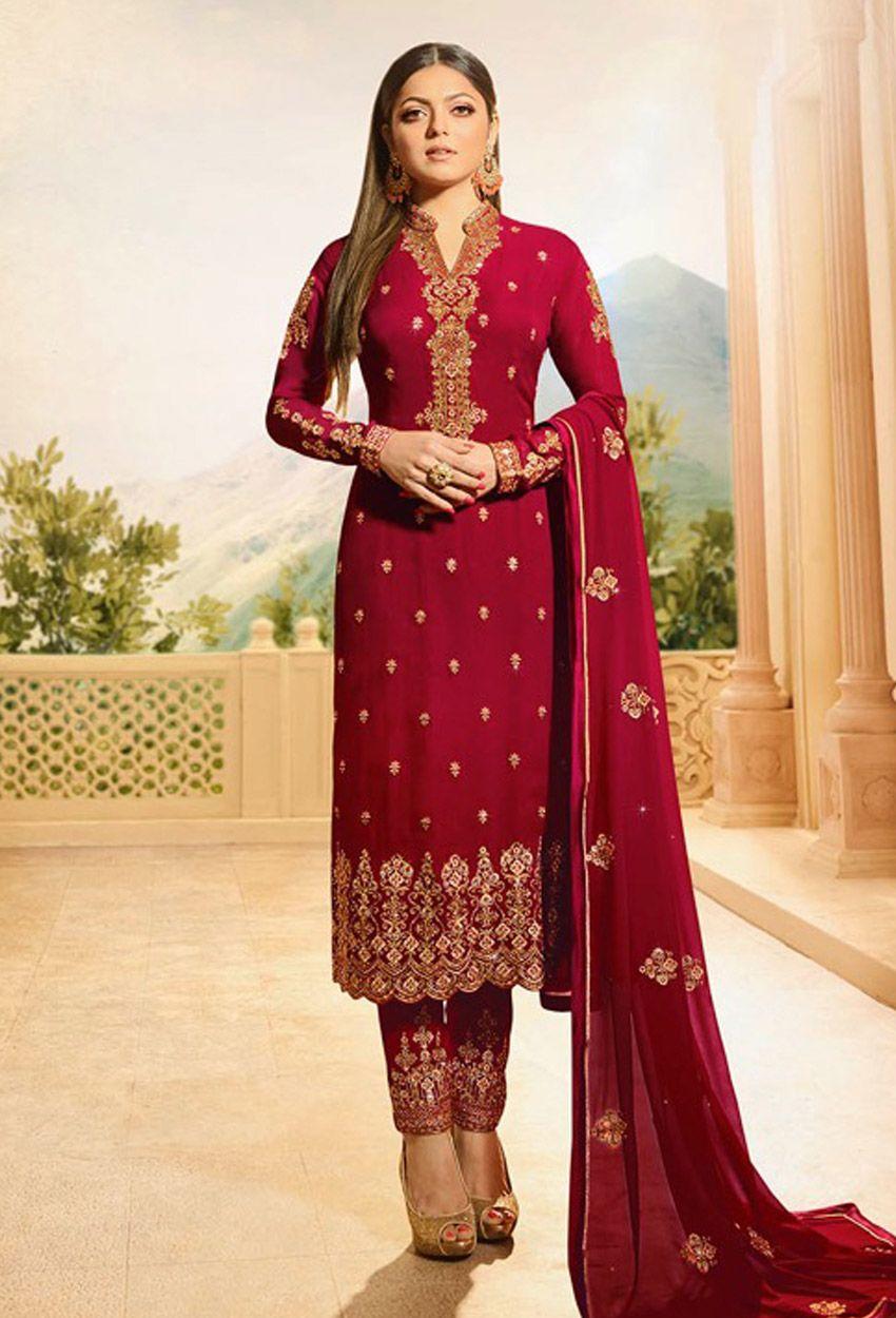 Red Georgette Wedding Pakistani Suit Pakistanisuit Pakistanisalwarkameez Onlinesuits Onlinesalwarkamee Bridal Dress Design Heavy Dresses Party Wear Dresses