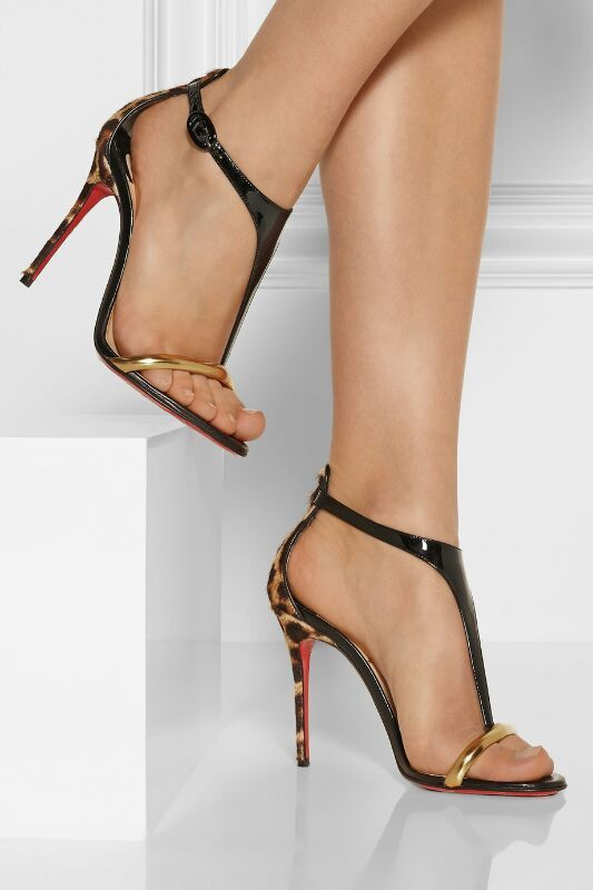 Christian Louboutin athena alta 100 leopard-print and patent leather sandals