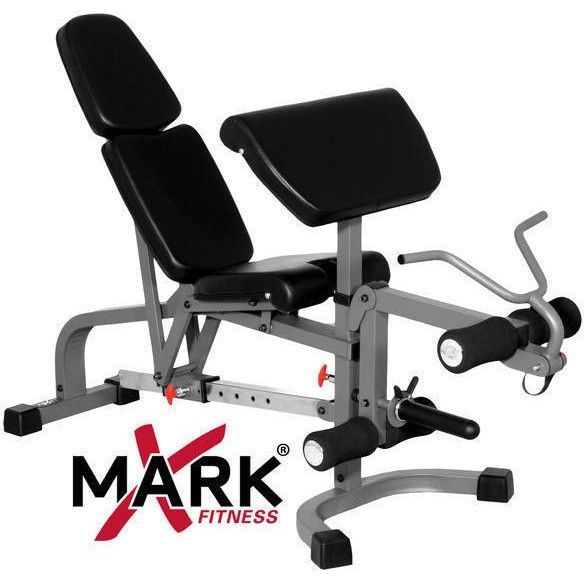 Xmark Fid Flat Incline Decline Weight Bench With Leg Extension And Preacher Curl Adjustable Weight Bench Weight Benches Preacher Curls
