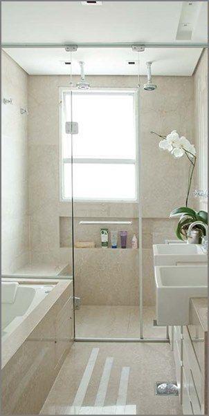 Banheiro pequeno com banheira e rea para ducha bathroom inspiration in 2019 - Duchas pequenas ...