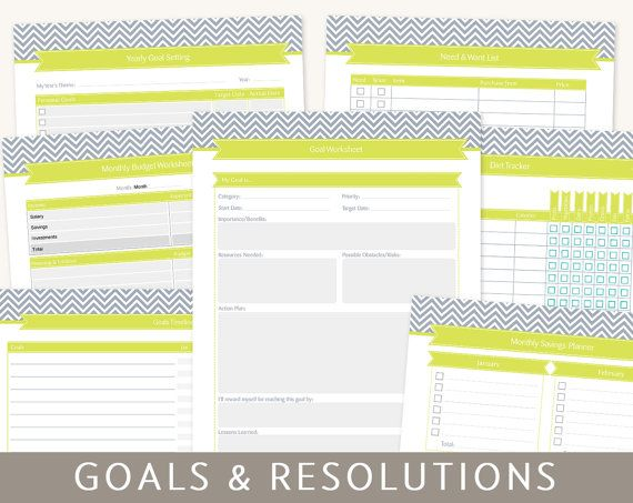 Goals planner goal setting new years resolutions 9 printable goal setting new years resolutions planner 9 printable templates editable pdf worksheets a4 and letter size instant download spiritdancerdesigns Choice Image