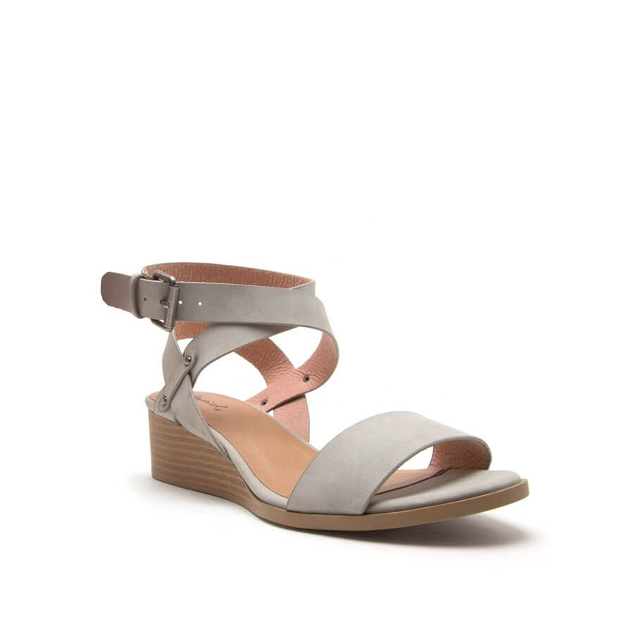 d9a1254c7537a2 Qupid Shoes Liam Sliver Wedge Sandals for Women in Light Grey LIAM-07 LT  GREY