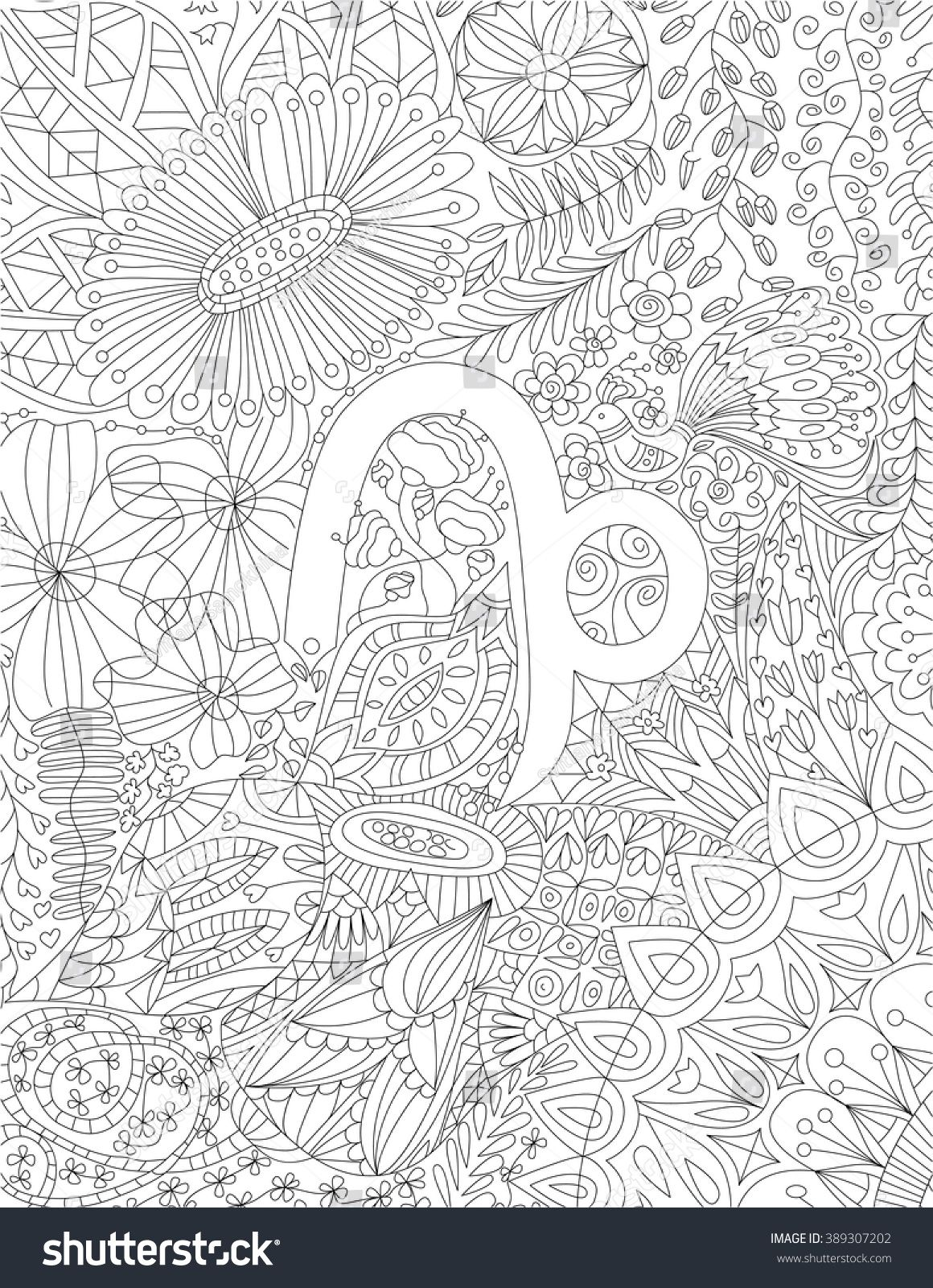Hand Drawn Zodiac Sign Capricorn With Ethnic Floral And Geometric