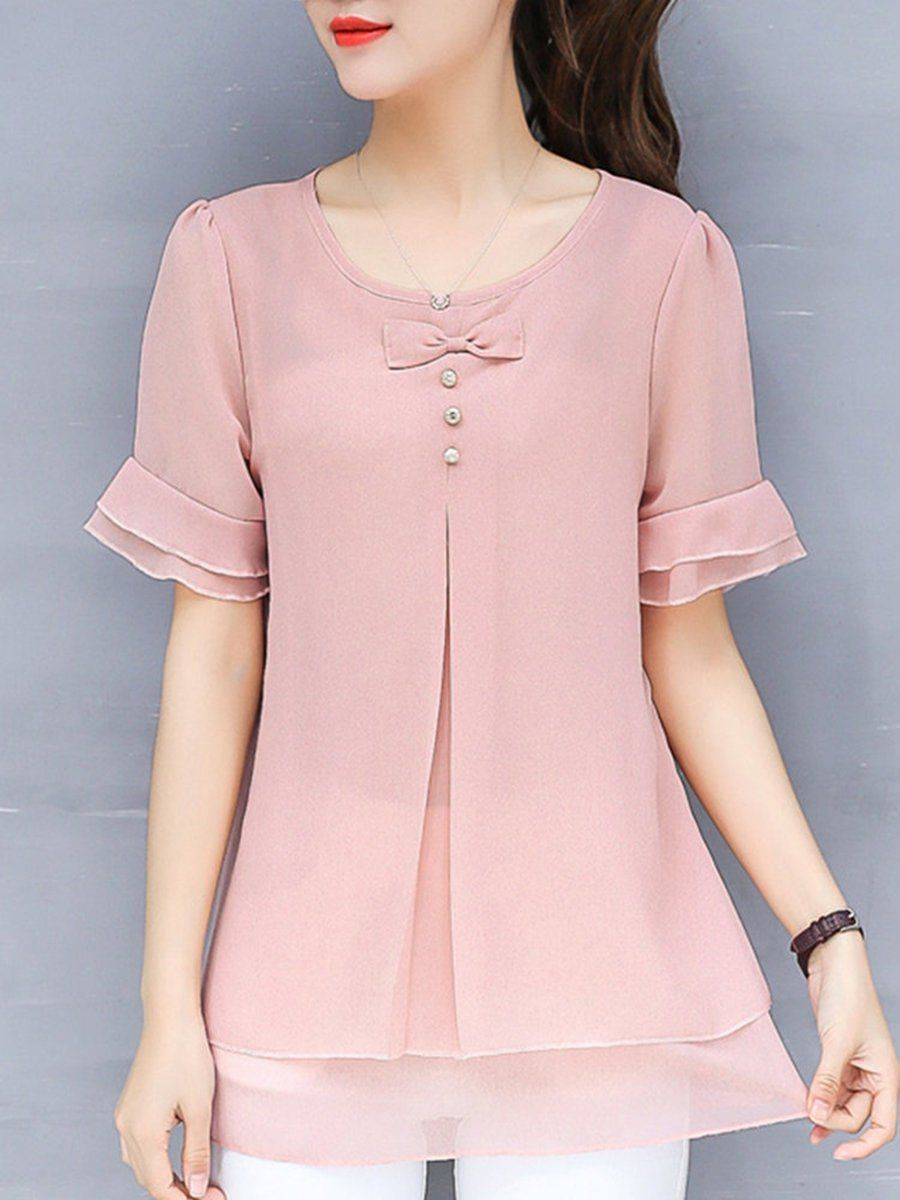 182af5dbe39 Solid Bow Casual Plus Size Frill Sleeve Chiffon Blouse - PopJulia.com