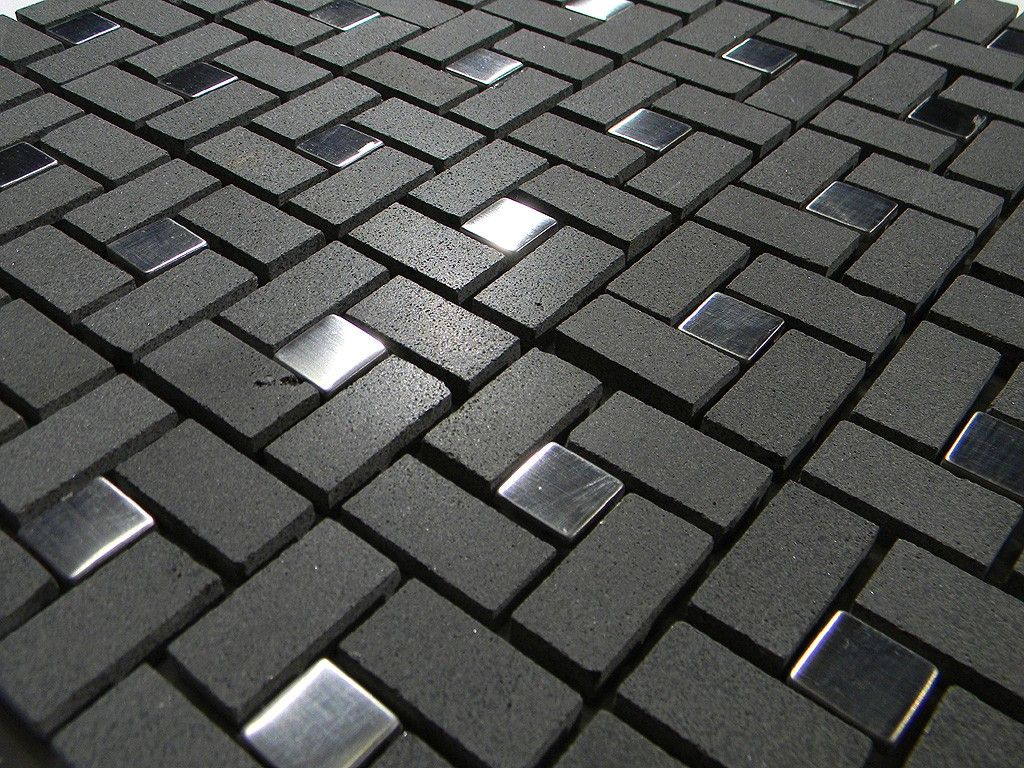 Black basalt with silver dots is perfect for a more modern look black basalt pinwheel pattern with silver metal tile dots glass tile home dailygadgetfo Image collections