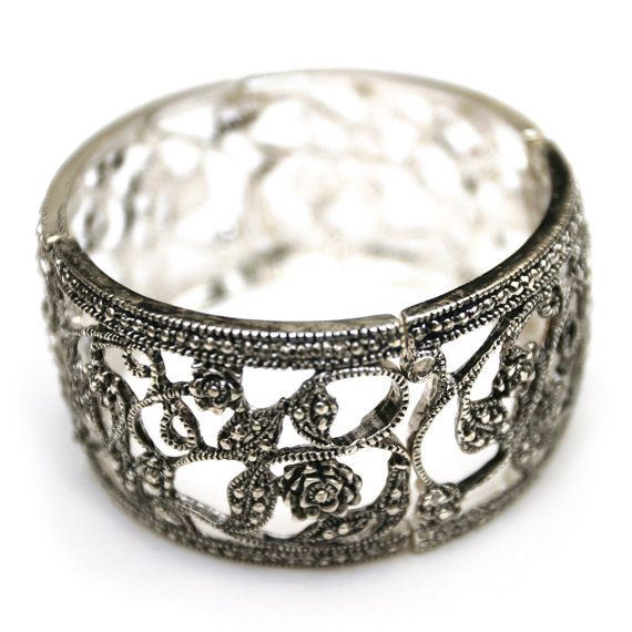 Antiqued silver flower cuff stretch bracelet by dixielanddelight, $34.95