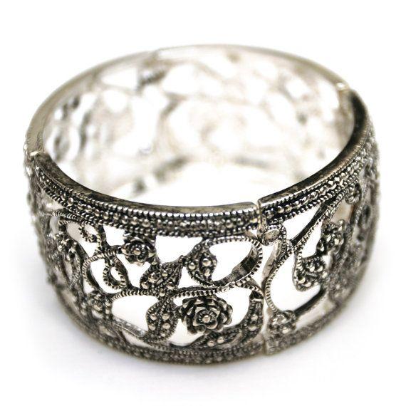 Antiqued silver flower cuff stretch bracelet by dixielanddelight, $34.95