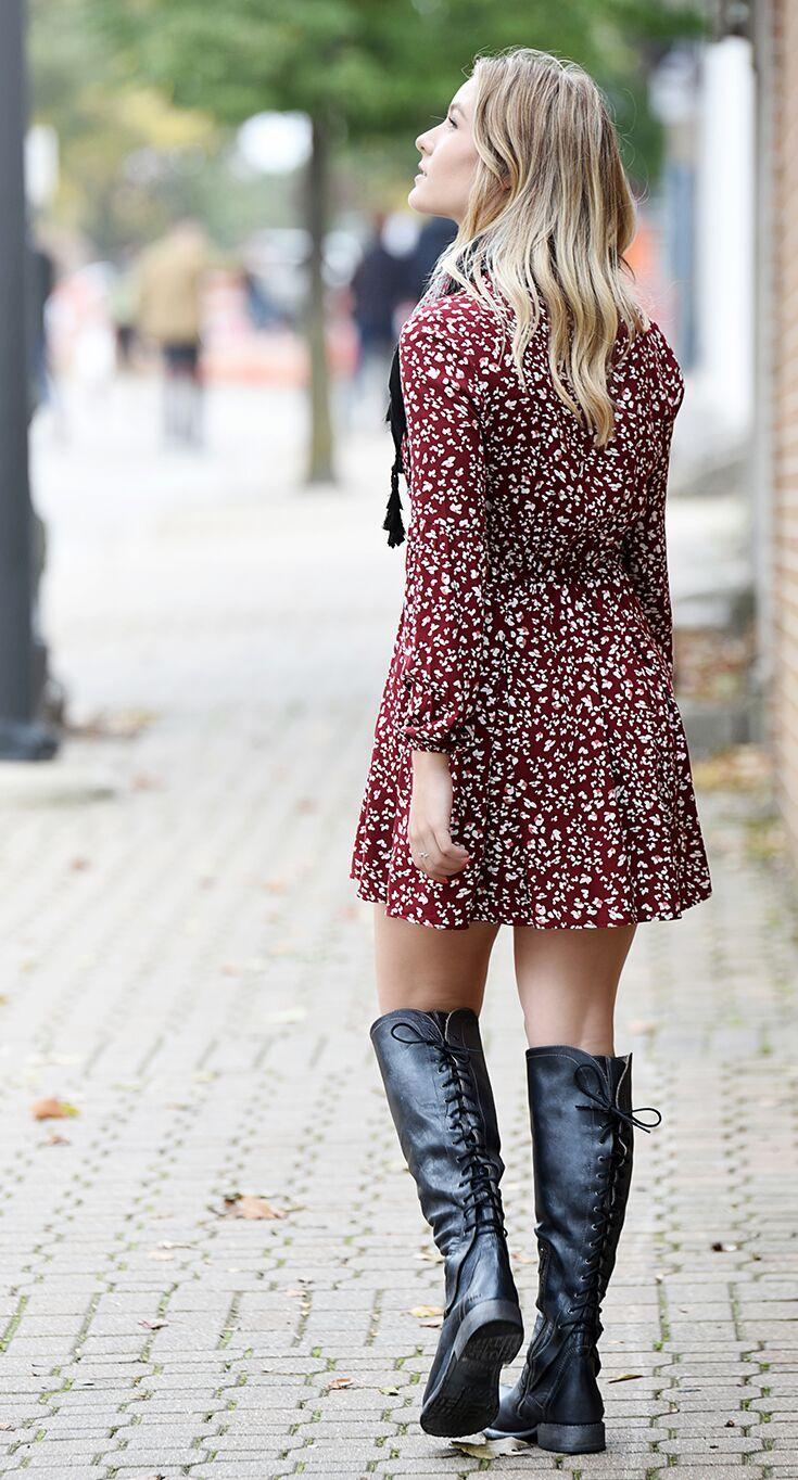 Surrey Long Sleeve Dress Dress With Boots Women [ 1364 x 735 Pixel ]