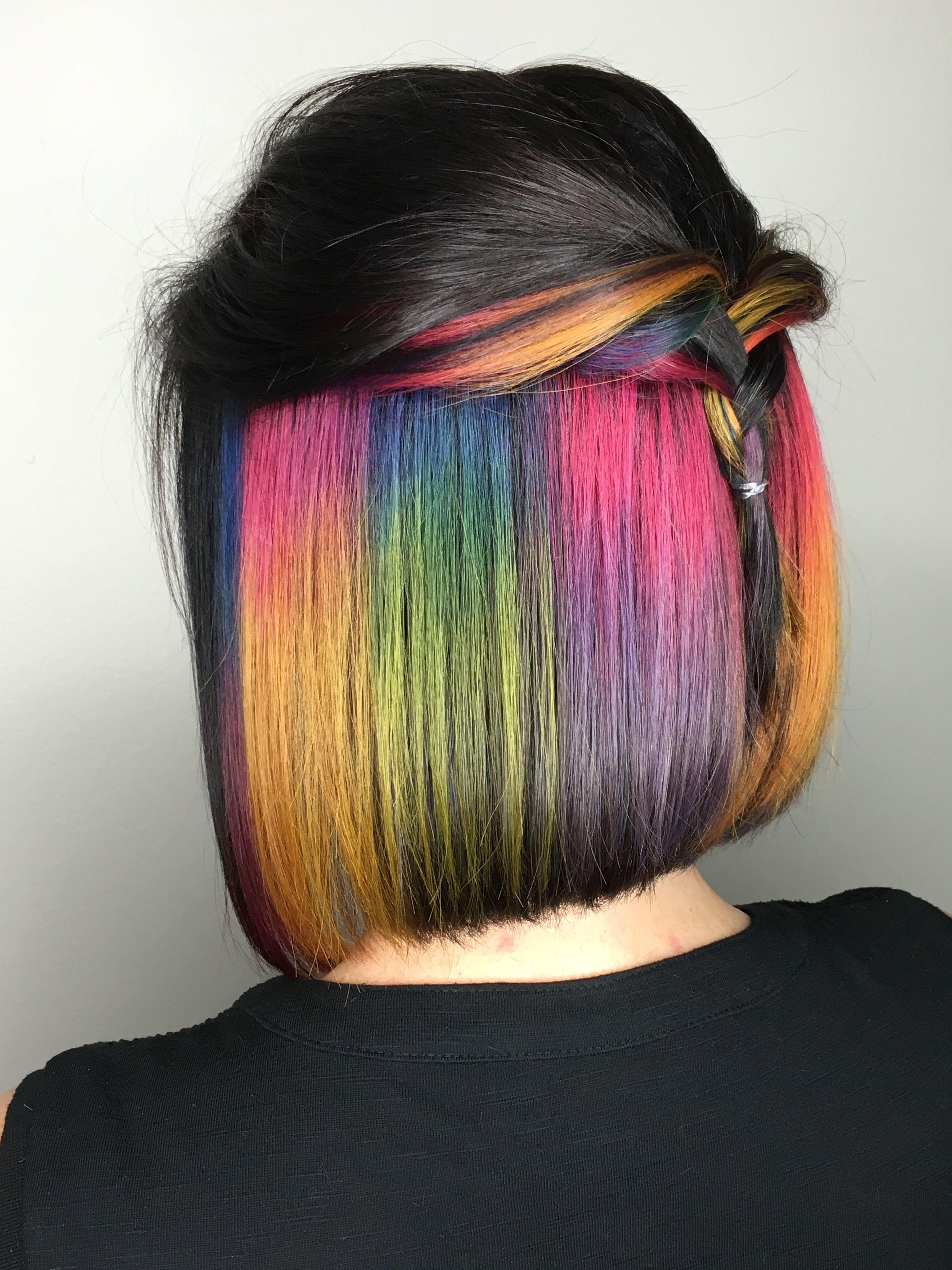 Peekaboo rainbow hair hair pinterest rainbow hair rainbows