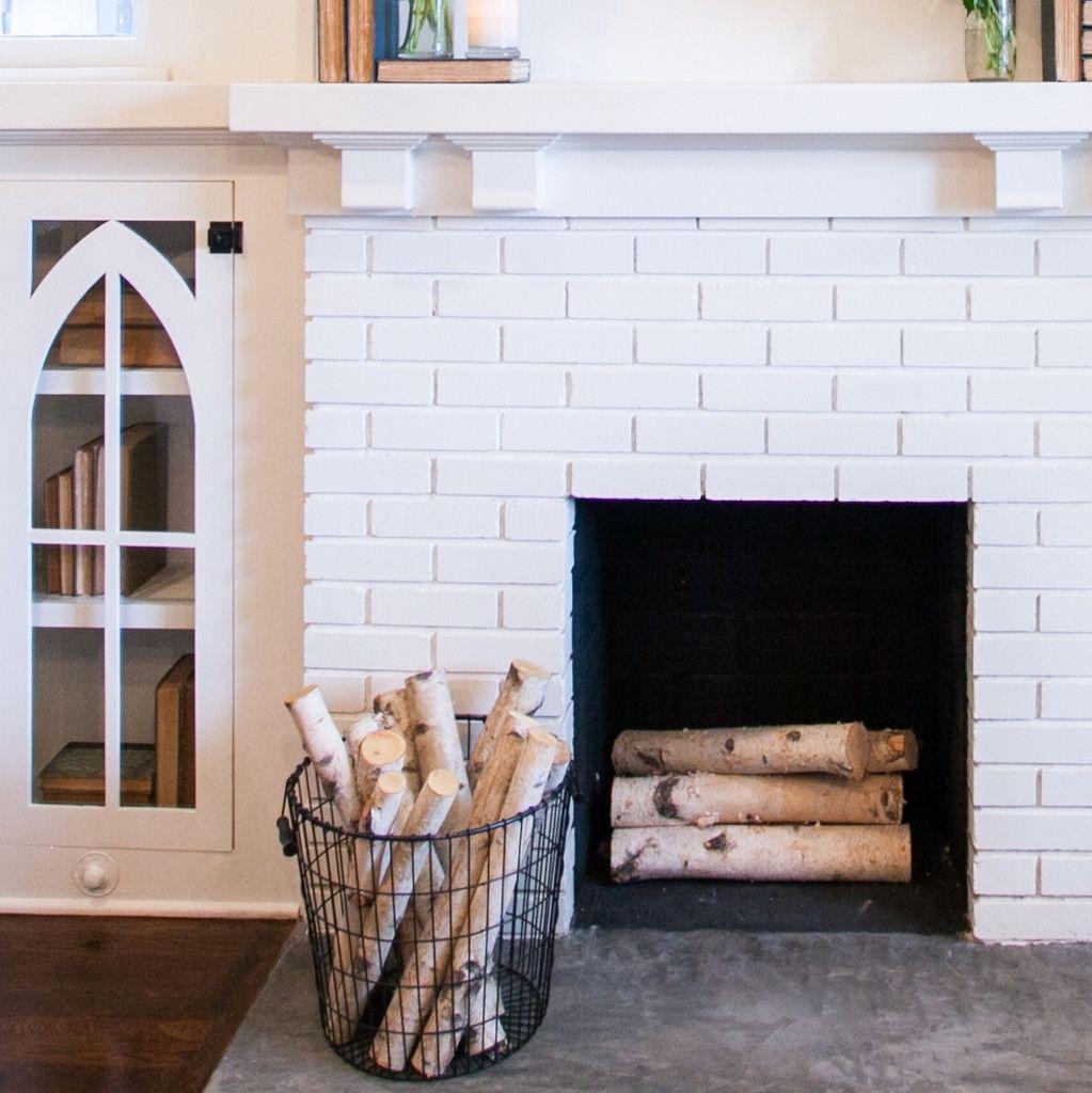 Wire Basket And Birch Logs Black Laundry Basket White Brick Fireplace Home Decor Baskets