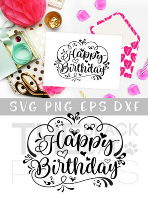 Download Free Happy Birthday Graphic By Theblackcatprints Creative Fabrica Manualidades Vinilos Proyectos SVG Cut Files