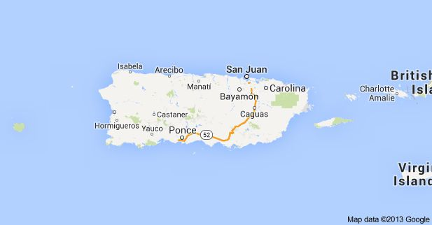 This is a map of Puerto Rico. The major cities are; 1-San Jaun 2 ...