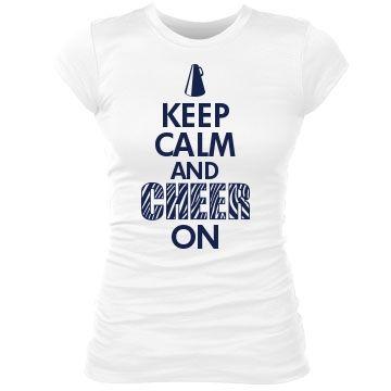 233c0465494 Keep Calm And Cheer On  Custom Junior Fit Bella Sheer Longer Length Rib T- Shirt - Customized Girl