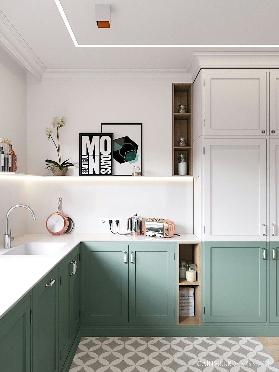 Green Cabinets White Countertops Small Kitchen Makeovers Kitchen Decor Interior Design Kitchen