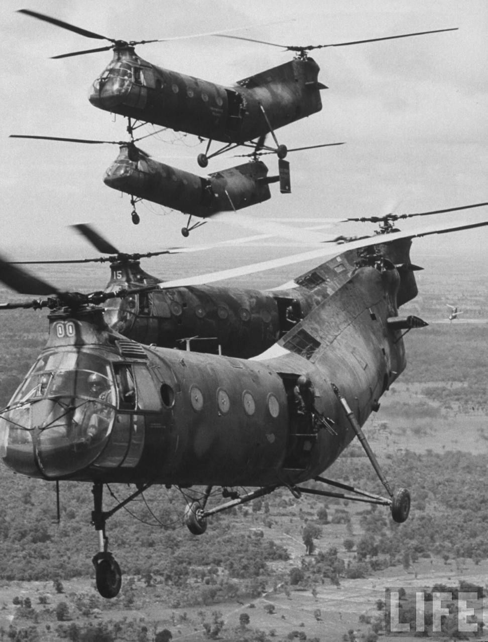 A flight of U.S. Army CH-21C Shawnee helicopters over South Vietnam, 1962.