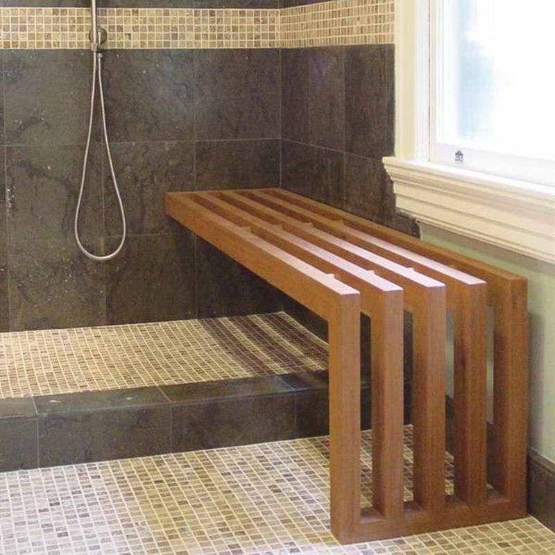 Bathroom Elegant Teak Shower Bench Semi Wall Mount Cedar Teak
