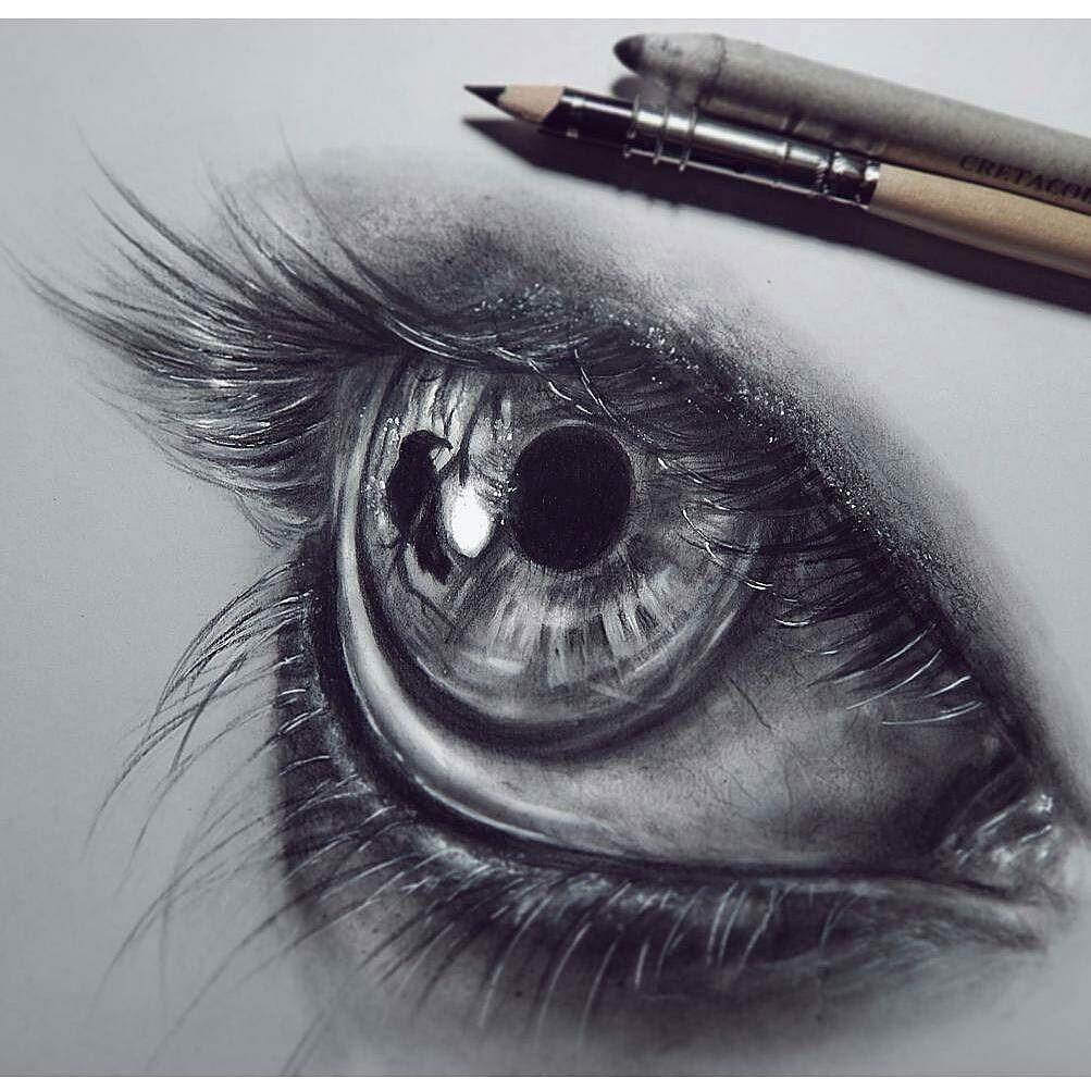 Olho Passaro Reflexo Preto E Branco Desenho Realista Arte