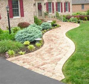 Home sidewalk idea for the front of the house outside for Home walkway ideas