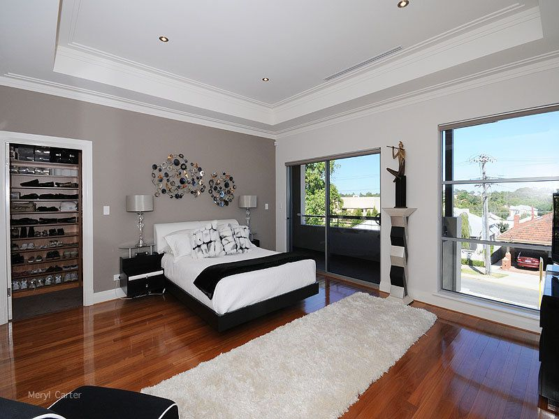 Room Bedroom Ideas With Hardwood Chandelier And Feature Wall In Grey