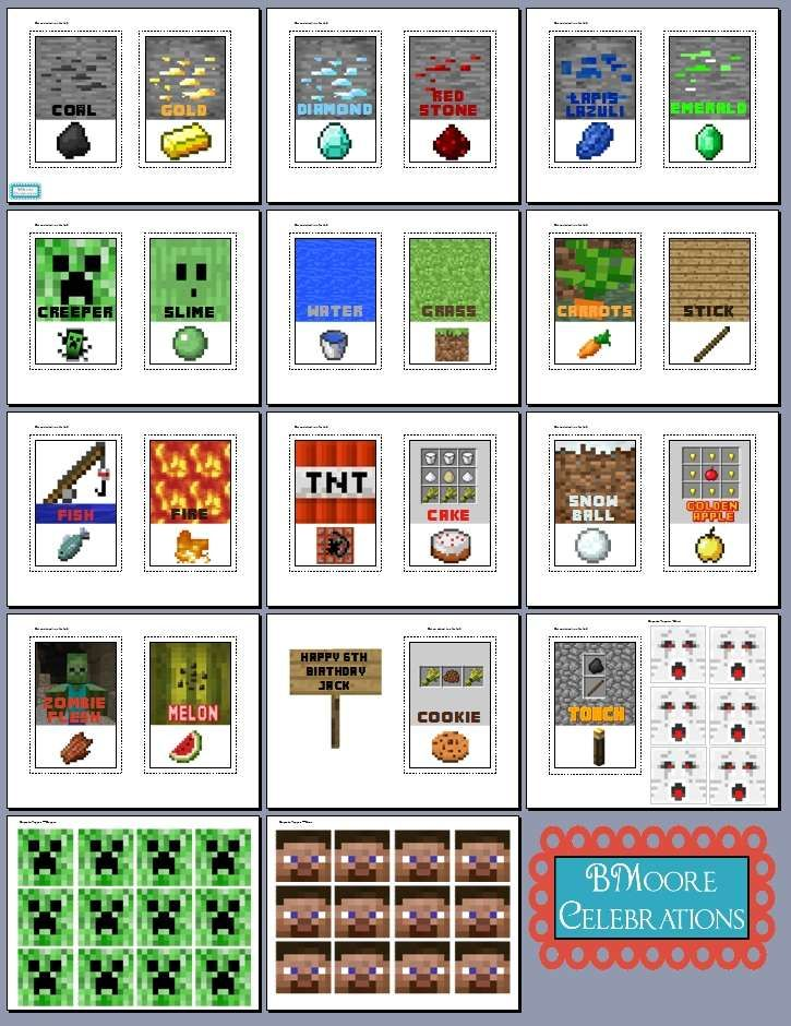 This is a photo of Selective Minecraft Birthday Food Labels