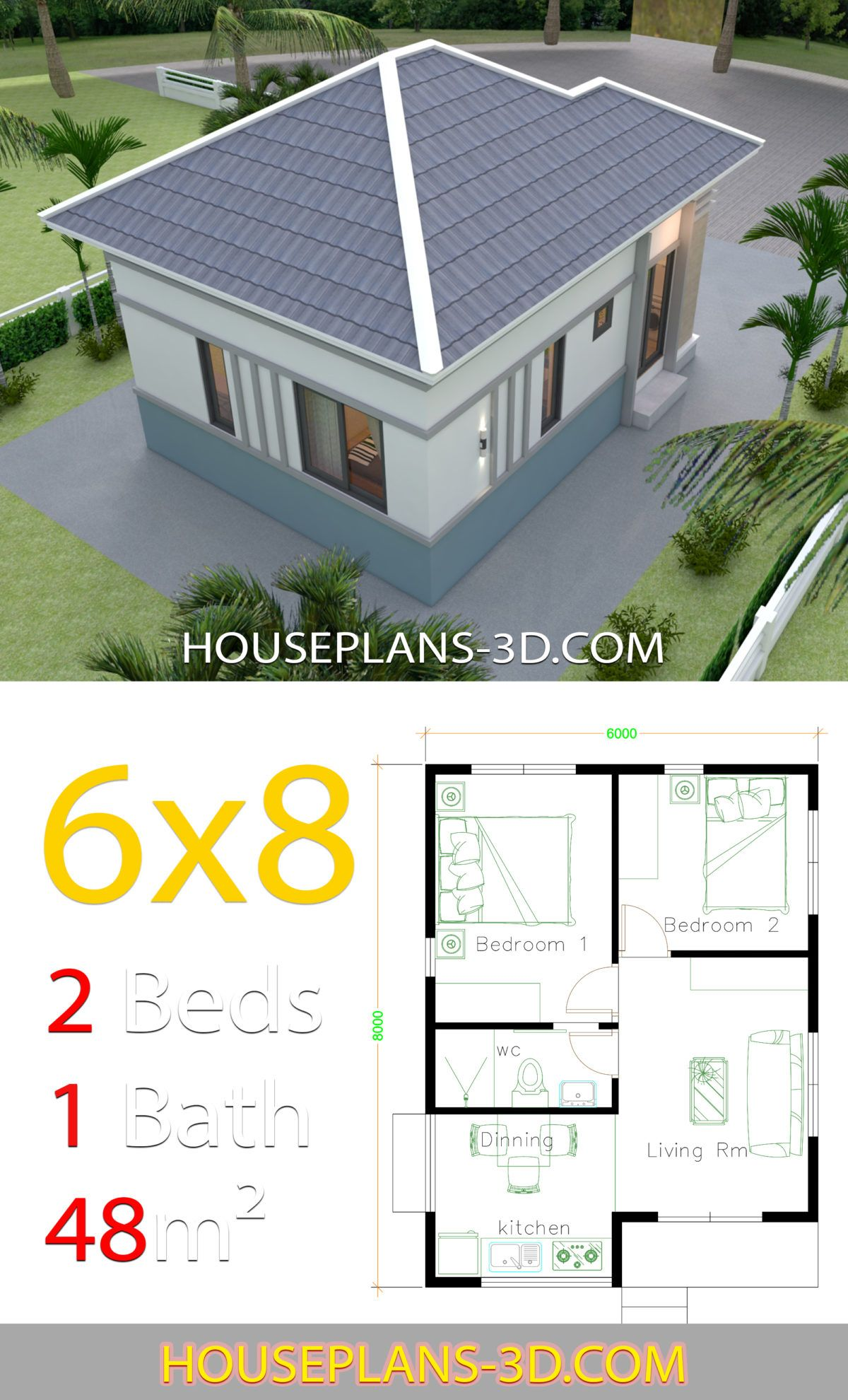 House Plans 3d 8x6 With 2 Bedrooms Hip Roof House Plans 3d Affordable House Plans Dream House Plans House Plans