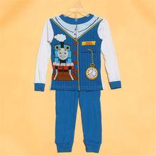 1 Set lot new 2016 boys thomas and friends Winter Christmas Warm Pajamas sleepwear suits children kids clothing sets(China (Mainland))