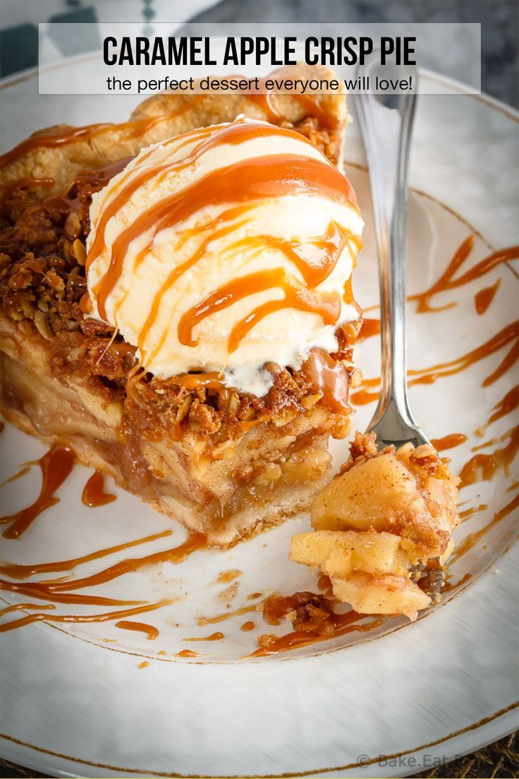 This caramel apple crisp pie is the perfect dessert when you can't decide between apple pie and apple crisp – just make both! #caramel #apple #applecrisp #applepie #pie #dessert #applecrisp