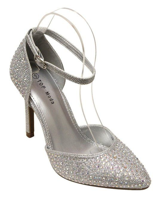 1e43946cd16 Top Moda Vicky-4 Women s pointy toe high heel rhinestone glitter adjustable  ankle strap d orsay pumps Silver 7
