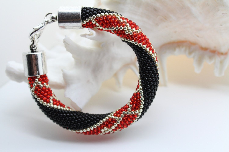 Bright Colors Beaded Bracelet Beaded Rope Bracelet by Inulitka