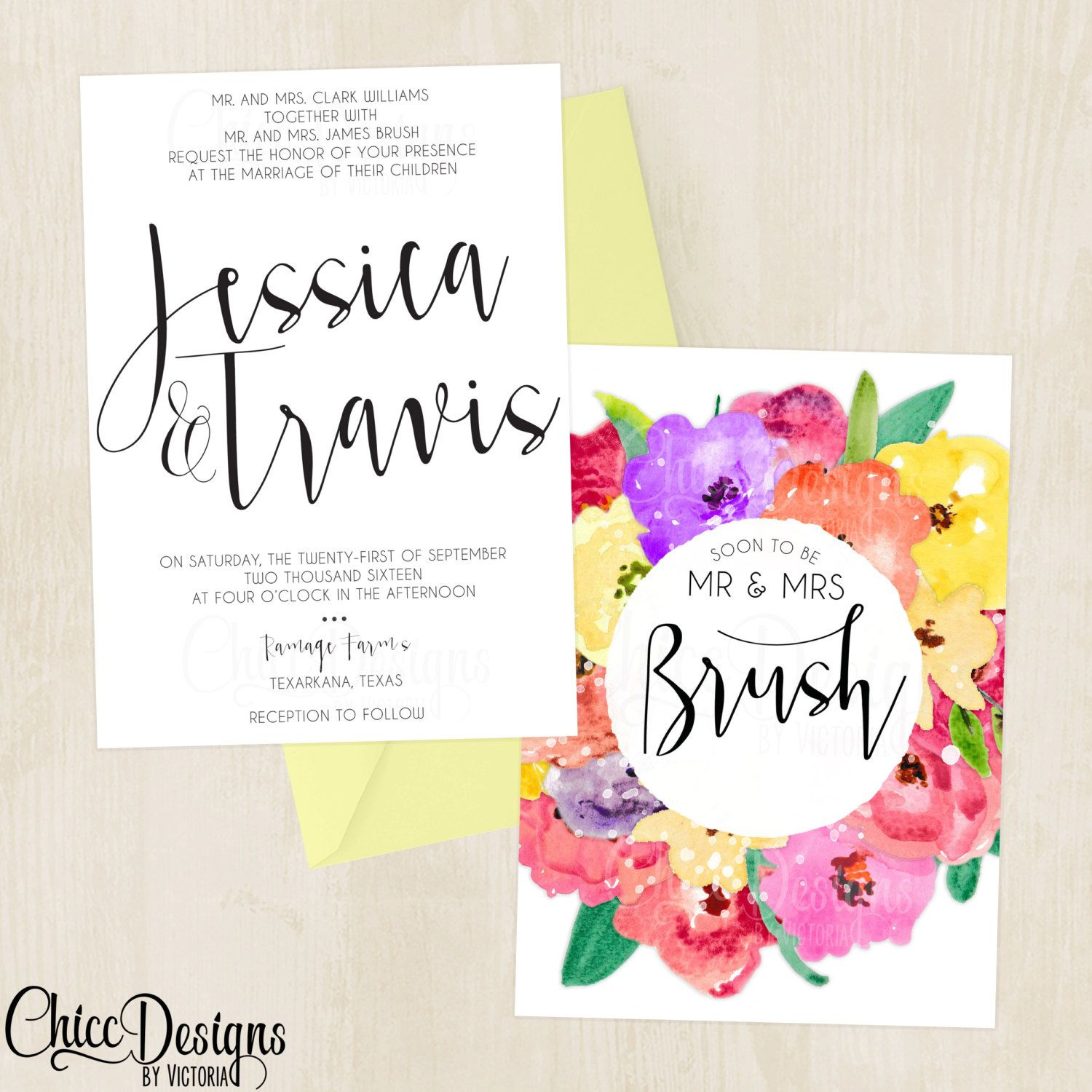 Elegant Floral Watercolor Wedding Invitations - Roses - Simple ...
