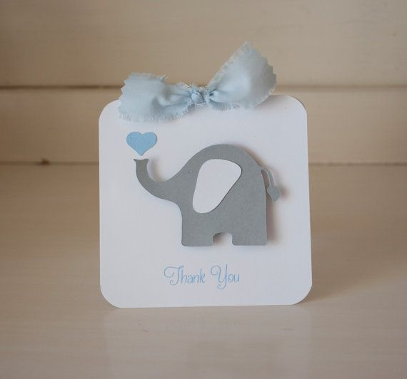 Elephant Baby Shower Thank You Cards Invitations First Birthday Party Gray and Blue Invites