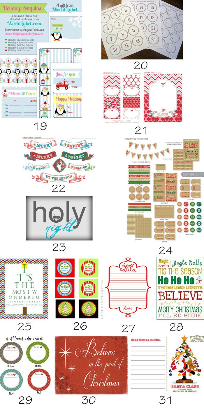 50+ {Roundup} Free Christmas Printables - Etiquetas para imprimir