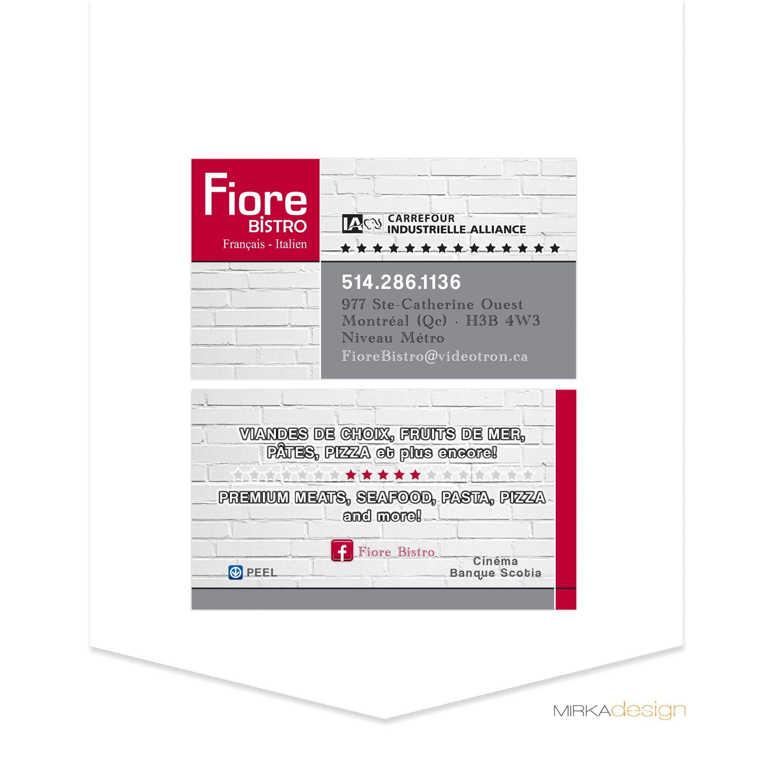 Carte D Affaires Pour Fiore Bistro Cartes D Affaires Graphisme
