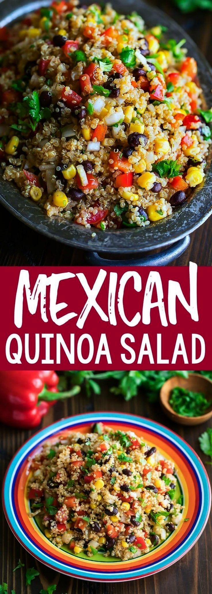 healthy Mexican Quinoa Salad is a quick easy and gloriously makeahead dish Tossed in a speedy homemade chili lime dressing this fiesta quinoa bowl is full of flavorThis h...