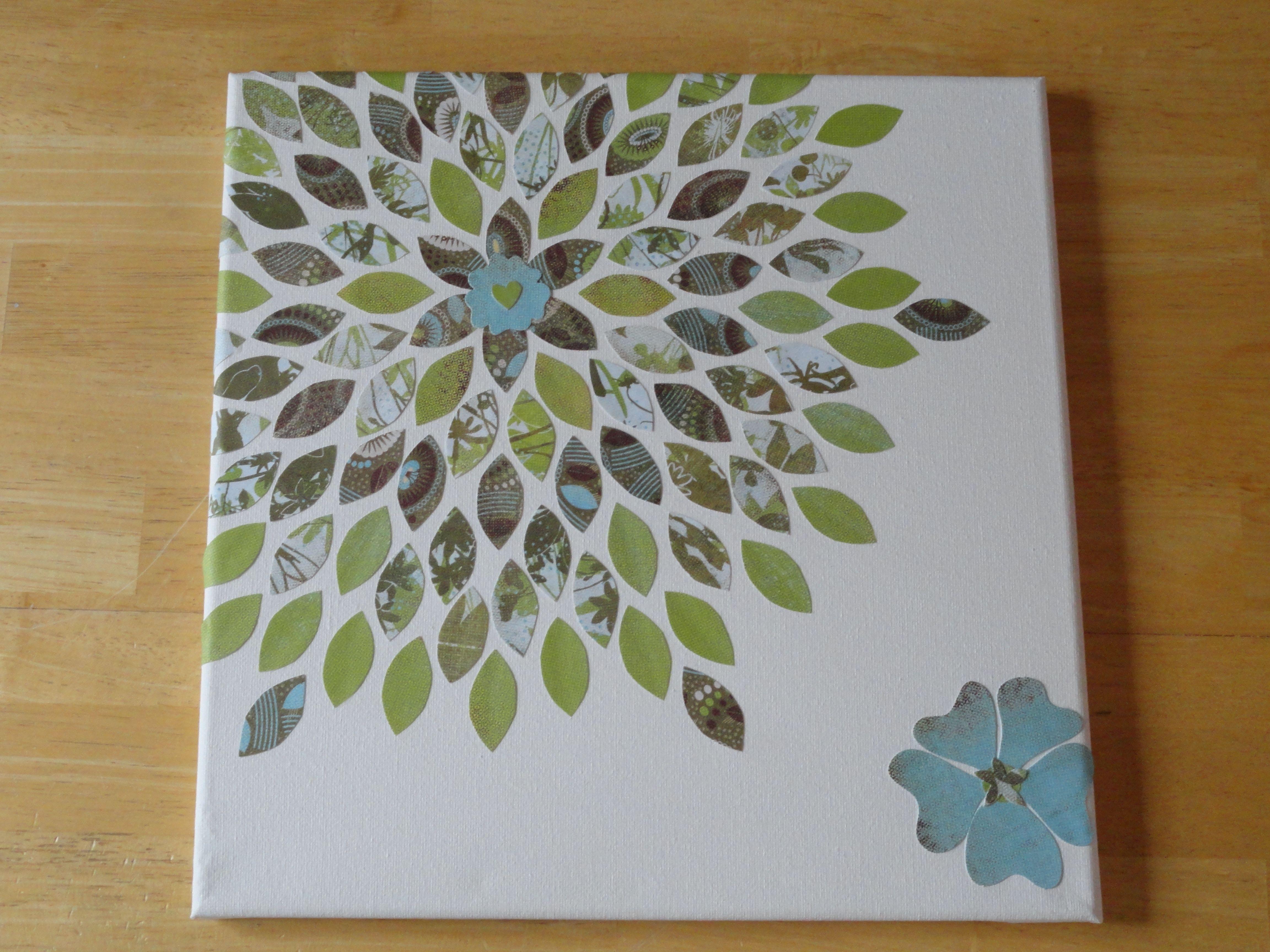 Scrapbook paper art ideas - 12 X 12 Canvas Left Over Scrapbook Paper And Elmers Glue