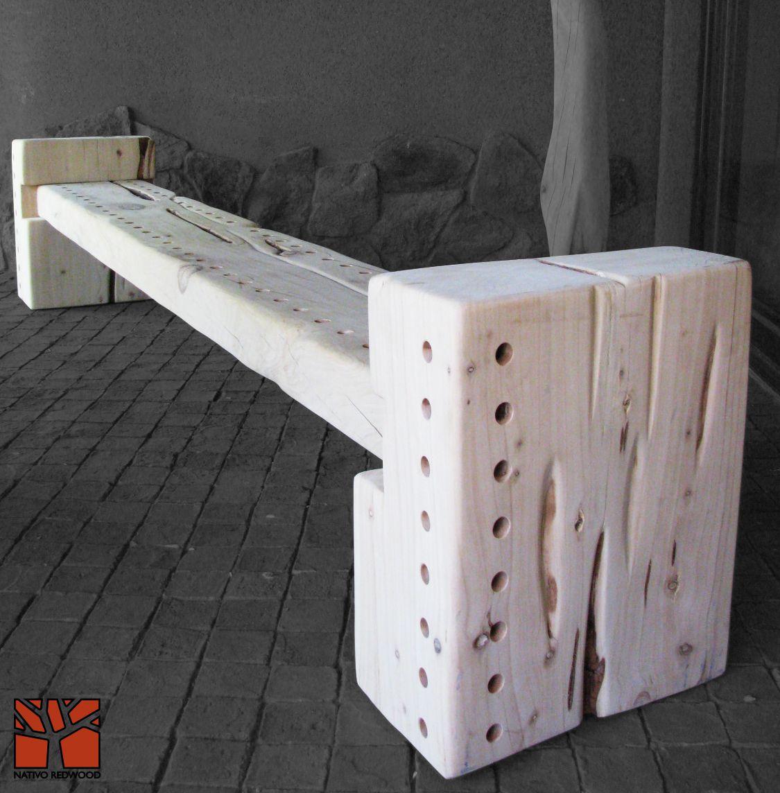 Nativo Redwood Banca De Maderos De Cipres Rustico De Una Pieza Con Forma Irregular Con Asiento Con Perforacione With Images American Barn Outdoor Decor Outdoor