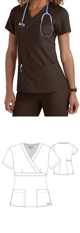 Tops 105440 Greys Anatomy 4153 Women S 3 Pocket Mock Wrap Scrub Top
