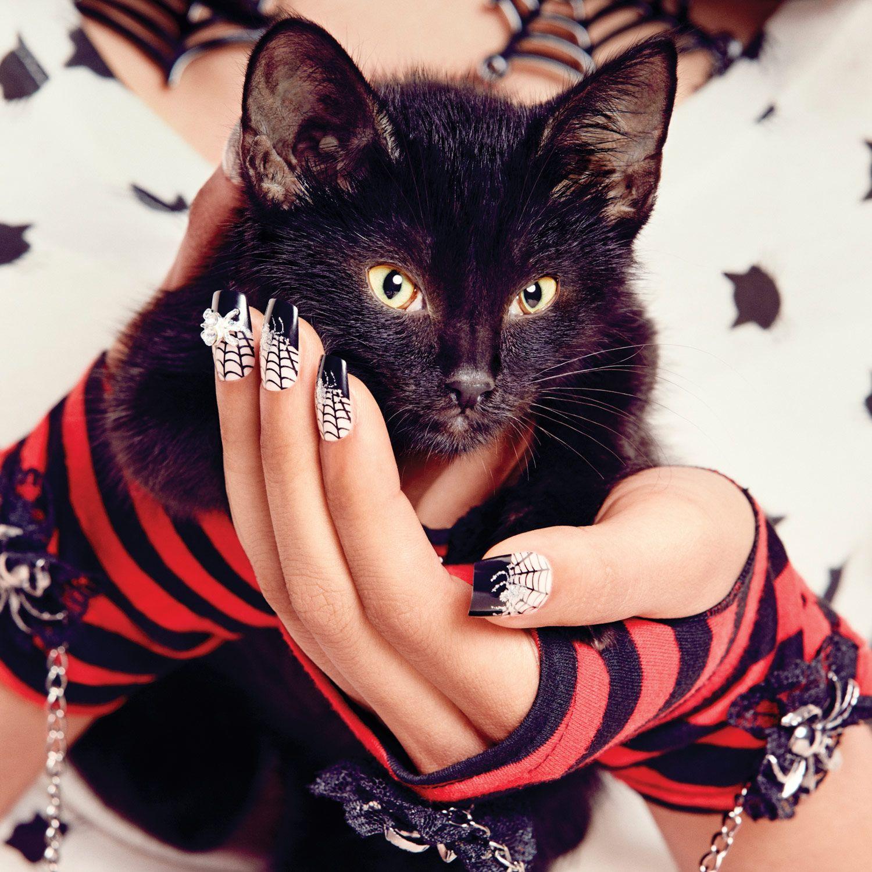 Lot de 24 faux ongles toile d 39 araign e maquillage d - Maquillage toile d araignee visage ...