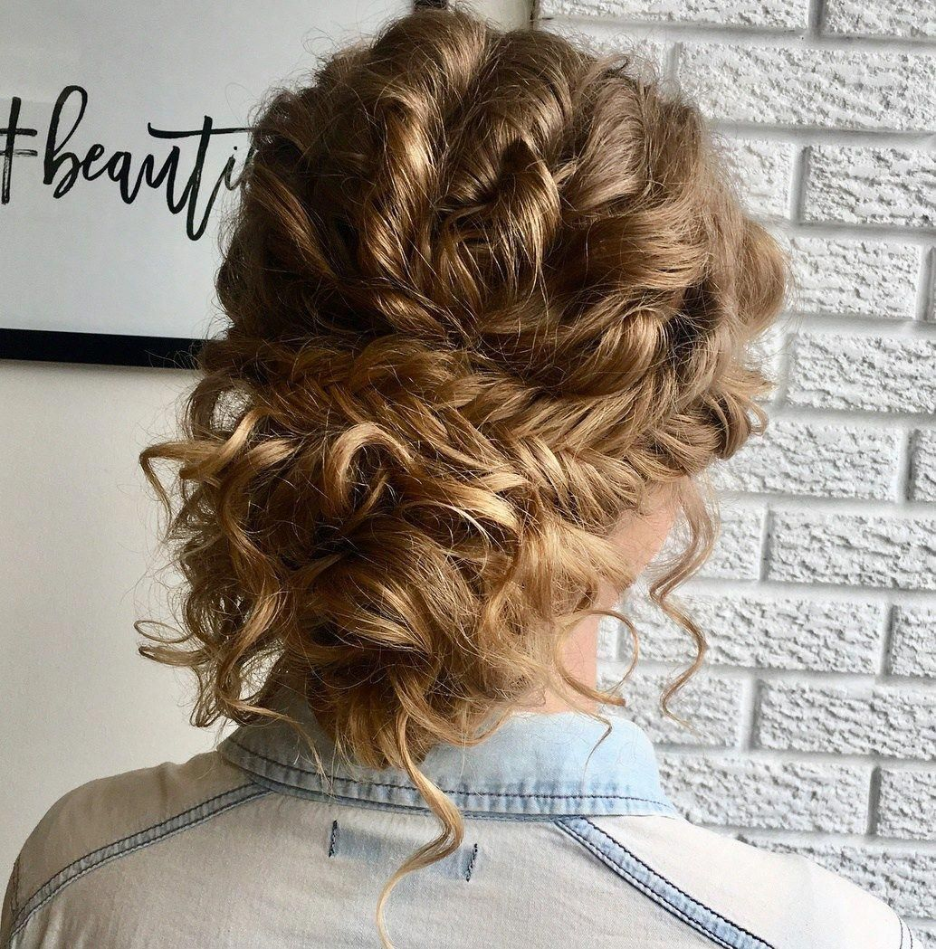 45 Charming Bride S Wedding Hairstyles For Naturally Curly: Loose Curly Updo With Fishtail Braid #curlybraids