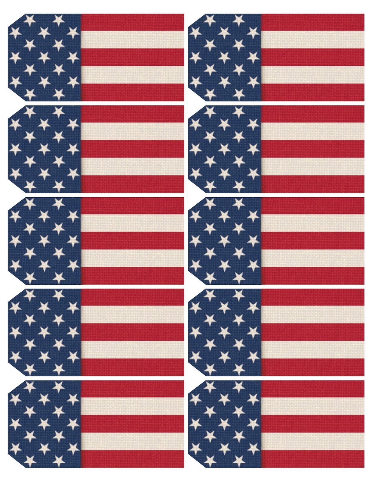 picture relating to Printable Usa Flag titled Printable sheet of 10 patriotic, United states flag-themed tags. Each and every