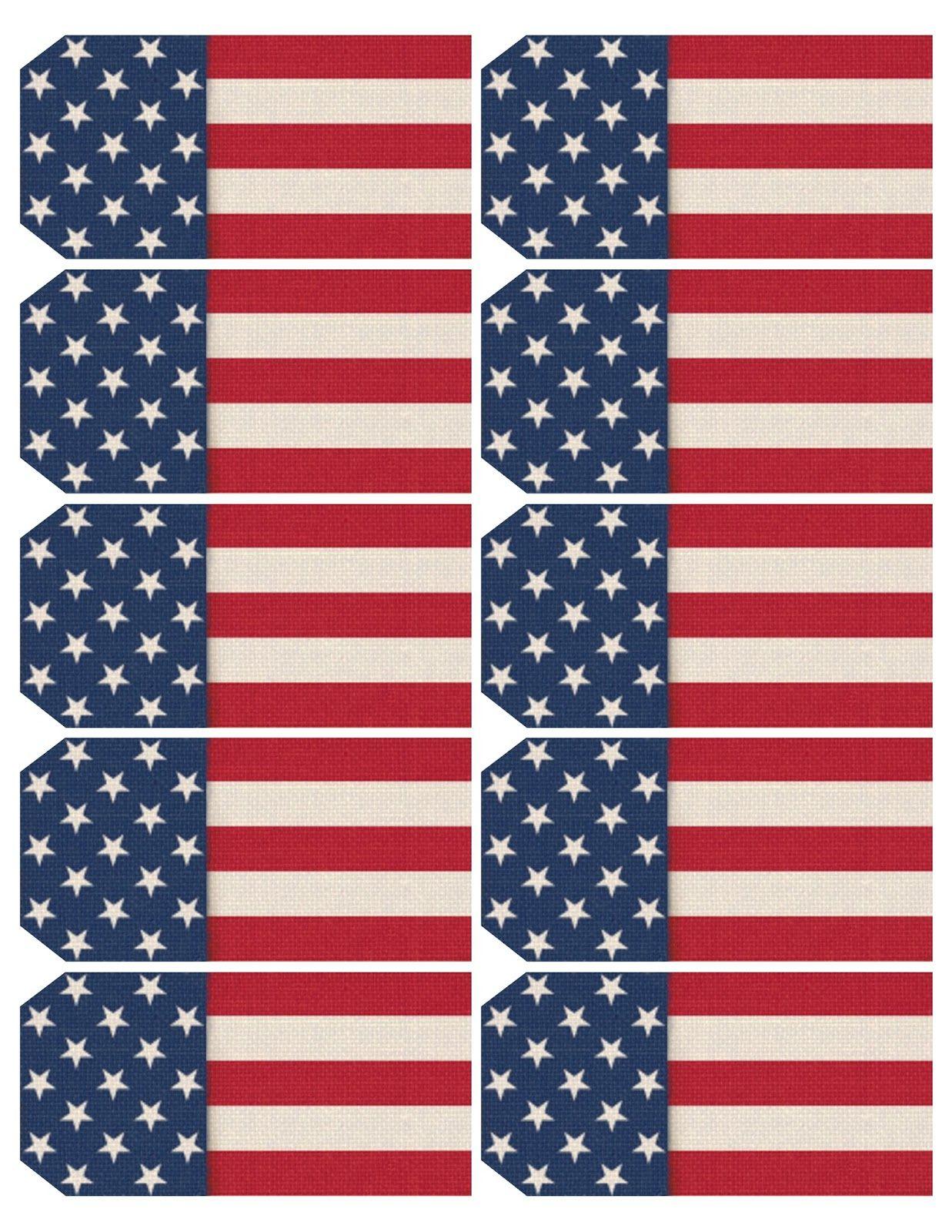 Printable Sheet Of 10 Patriotic Usa Flag Themed Tags