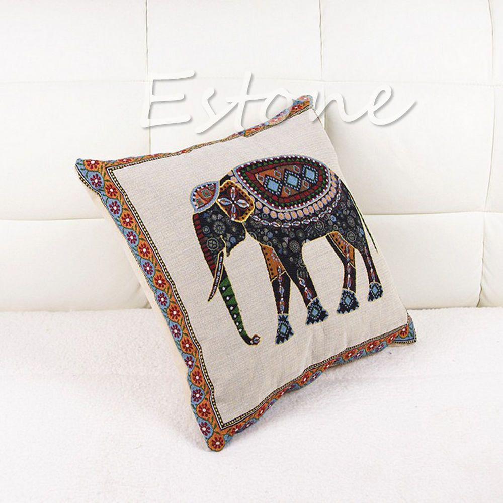 New throw pillow case cushion cover decor indian knitted elephant