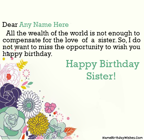 Write name on Beautiful Birthday Wishes For Younger And
