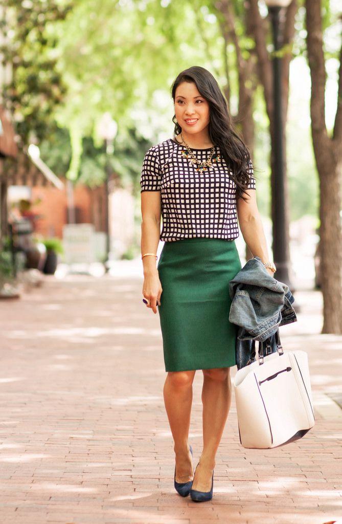 c482ec2f3d cute & little blog   petite fashion   windowpane silk shirt, green pencil  skirt, denim jacket, navy pumps, statement necklace