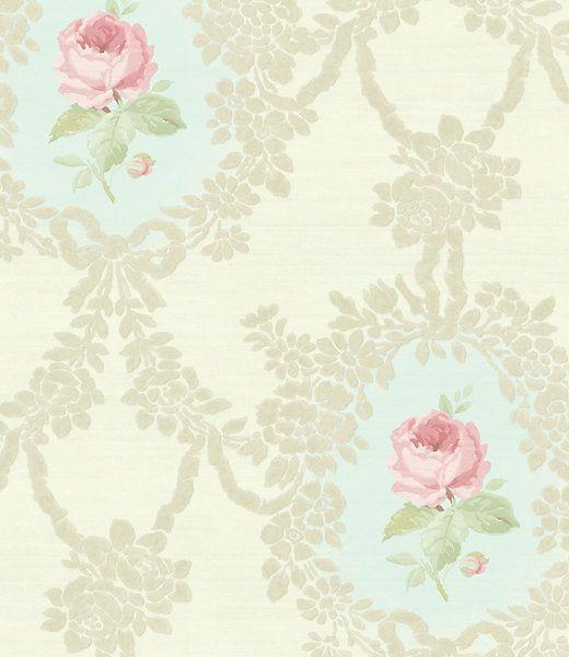 Cameo Rose-Pink Blue wallpaper, Scalamandre in 2020 | Rose ...