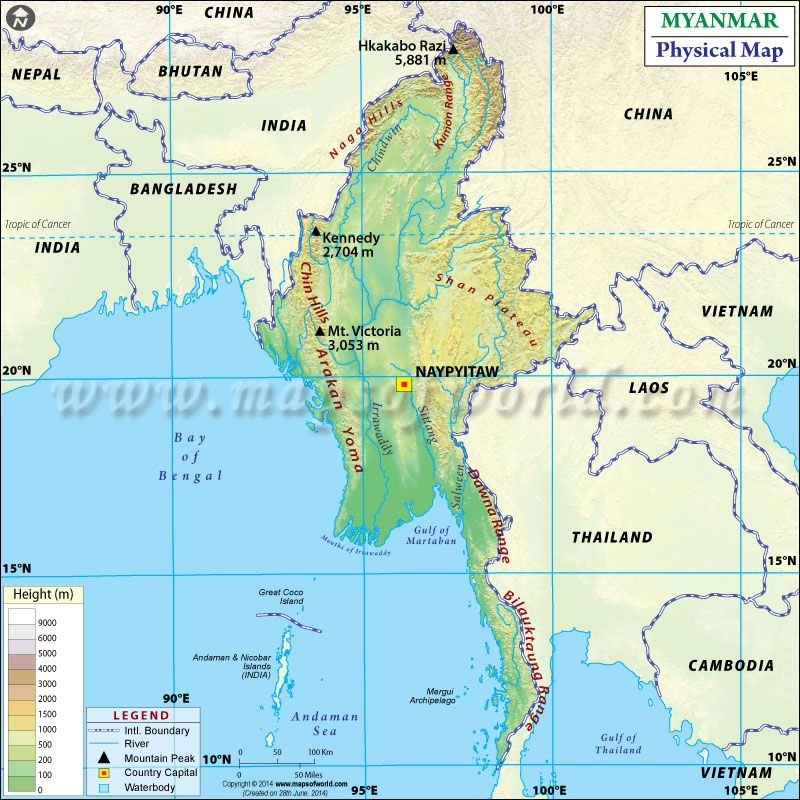 Physical Map of Myanmar Maps Pinterest Sea level, Rivers and - best of world map estonia highlighted