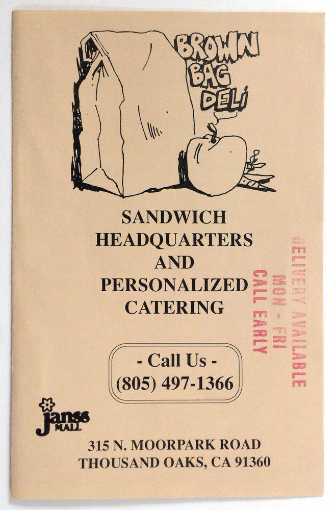 1980 S Vintage Menu Brown Bag Deli Delicatessen Thousand Oaks Ca Coffee